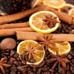 Coffee beans, cinnamon sticks and star anise