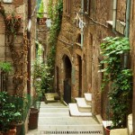 Old town alley in Tuscany Italy