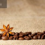 Coffee and Star Anise on sackcloth with copyspace