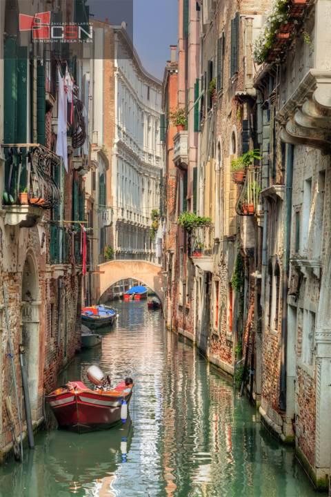 Venice, Italy. A romantic narrow canal and bridge